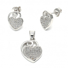 Hot Sales 925 Sterling Silver Jewelry Set Boucles d'oreilles coeur Pendentifs