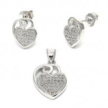 Hot Sales 925 Sterling Silver Jewelry Set Coração Brincos Pendentes