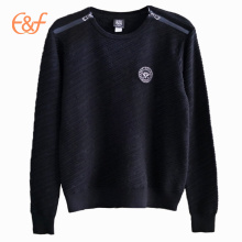 Men's Cross Rib Pattern Black Winter Sweater With Zippers