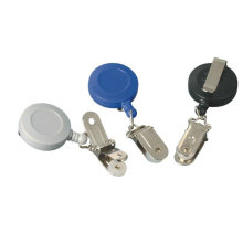 White, Black, Blue Retractable Id Badge Reels / Reel With Flip Top Clip For Key  Chain 30232