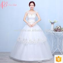 Spaghetti correa de múltiples capas de encaje apliques baratos pelota inflable vestido de novia vestido