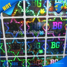 Chine fournissent des autocollants hologrammes bon marché de conception personnalisée, autocollant holographique imprimé laser de haute qualité