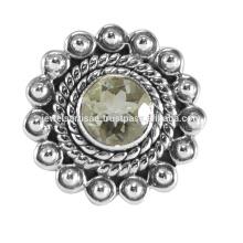 Designer Grüner Amethyst Edelstein 925 Sterling Silber Ring
