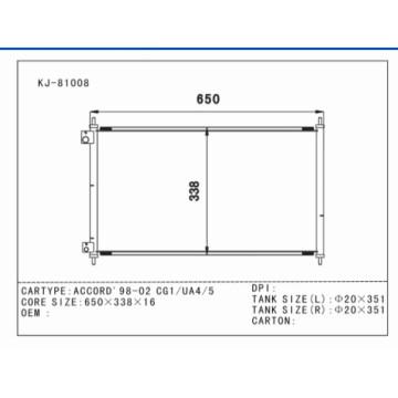 Condenseur auto en aluminium pour Accord'98-02 Cg1 / Ua4 / 5