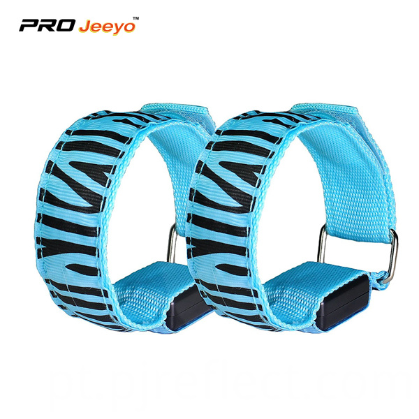 Led Light Blue Zebra Print Webbing Armband Wb Mbw004