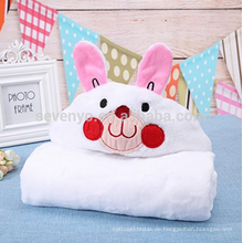 Neugeborenes Baby weichen natürlichen Cartoon warme Kapuzen Badetücher (weiß) (Kaninchen)