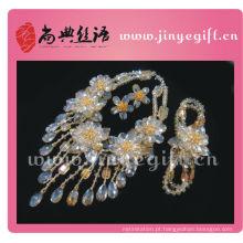 Colar floral Handcrafted de ShangDian, bracelete, conjunto do diamante dos brincos