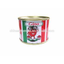 Pasta de tomate enlatada concentrada doble de la marca de 70 G Gino de la fábrica de China