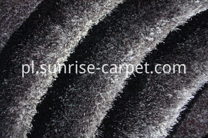 3D Shaggy Rug with Black and Grey Color