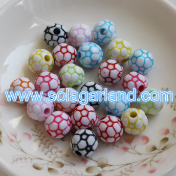 12MM Colorful Acrylic Round Football Soccer European Beads Fit Charms Bracelet