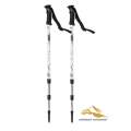 High Quality Professional 3 section Aluminium Telescopic Alpenstock Walking Stick