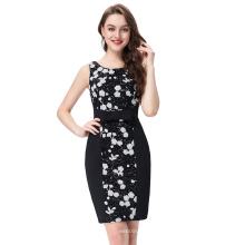 Kate Kasin Sleeveless Round Neck Sequined Cocktail Dress Short Black KK000195-1
