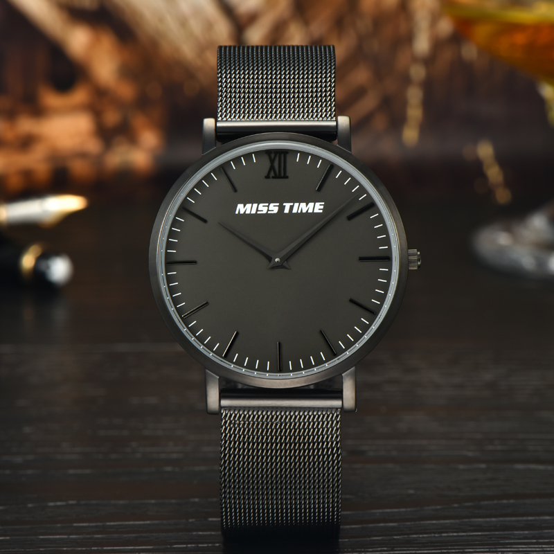 black stainless steel back case band mesh quartz watch
