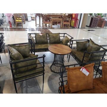 Muebles del restaurante del sofá del asiento de cuero de la tela del marco metálico