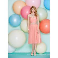 Vente en gros de bonne qualité New Cheap Sweetheart Tulle Lace formal Short Beach Robes de demoiselle d'honneur LBS03