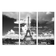 Черное и белое растянутое полотно / Европейская стена железной башни Картина / Париж Эйфелева башня Печать холст
