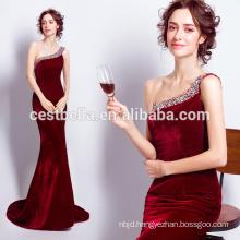 2016 Full Length Red Gown Mermaid One Shoulder Red Velvet Evening Dresses