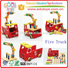 2015 New Kids Toy Wooden Fire Truck, Lovely Design Crianças Play Fire Truck Toy