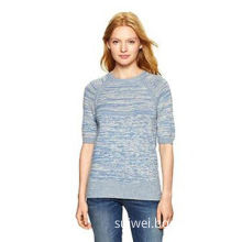 Marled elbow-sleeve sweater