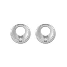 E-691 xuping high quality stainless steel circle hollow inlay rhinestone stud earrings