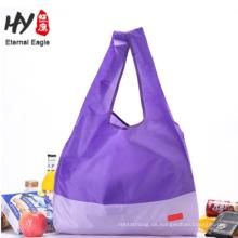 Griff Größe 15 * 10 cm Nylon faltbare Lebensmittelgeschäft wasserdichte Einkaufstasche