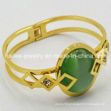 Bracelete de aço inoxidável 316L bonito com pedra grande