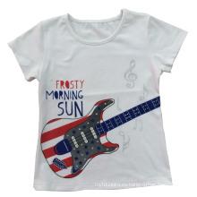 Chica de moda niños ropa guitarra camiseta con bordar Sgt-034