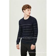 Manga de lana cuello redondo rayas tricotar hombres suéter