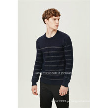 Lã mistura rodada pescoço listrado tricô homens camisola