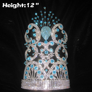 12in Big Tall Pageant Queen Crowns In Peacock Shaped