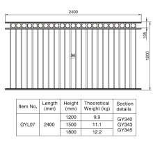 Sección decorativa de aluminio negro de la cerca