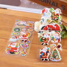 Дешевые Санта Украшения Бумажные Наклейки Дети Рождество Глянцевая Виниловая наклейка