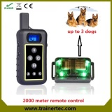 Hot sale 2000m waterproof and rechargeable Remote dog training collar with 2 years warranty