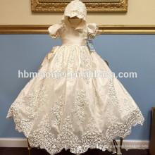 Nouveau mode blanc tout-petits nourrissons bébé cultivé anniversaire longue dentelle brodée robe filles robe de baptême avec chapeau