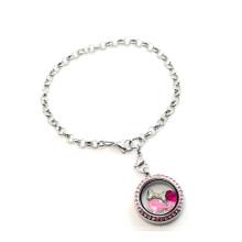 Fantasia linda legal pulseira cadeia de cristal, novo 316l pingente medalhão pulseira