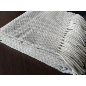 Woven 100%Pure Virgin Merino Wool Fringed Throw