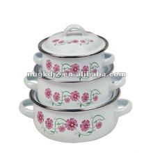 enamel casserole with metal lid