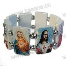 Newest Design White Wooden Rosary Bracelet with Saint Pictures