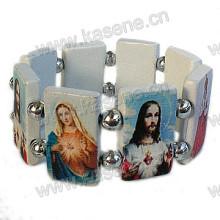 Mais novo design bracelete de madeira branca rosário com fotos de são