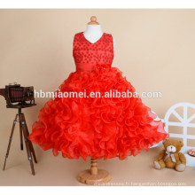 2017 nouveau design de haute qualité perlé robe de bal robe de fille Moyen long design bouffi gâteau enfants robe de fille