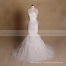 Fairy Mermaid Bateau à encolure en daim Applique Bottom Ruffle Wedding Gown