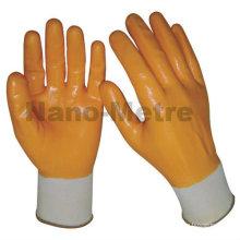 NMSAFETY tricot nylon entièrement enduit gants de nitrile en vrac jaune pour les produits chimiques
