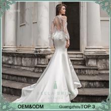 Vestido de noiva com incrustações de alta ilusão vestido de noiva bege sexy merimaid Vestido de casamento nupcial muçulmano