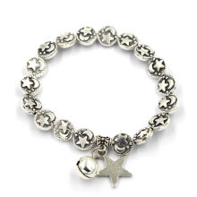 Silver Retro Star and Moon Beads Bracelet
