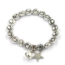 Pulseira de prata retro estrela e lua beads