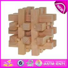 Jouet éducatif de serrure en bois de Kongming pour des enfants, dernier jouet de serrure en bois de jouet pour des enfants, jouet en bois de serrure de croix pour bébé W03b024