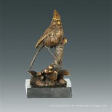 Tier Bronze Skulptur Brid Birdle Zweig Dekoration Messing Statue Tpal-261