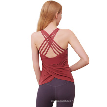 2021 Sexy elegant style breathable Backless Cross Sports yoga bodycon summer clothes for women Sportswear