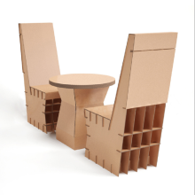 Corrugated paper table and chair combination
