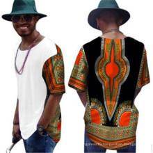 Kente ethnic hippie multi colors flora printed loose fit African clothing java wax 100% cotton men's blouse shirt Dashikis